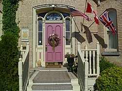 1800's Historical front door at Telegraph House, Port Stanley